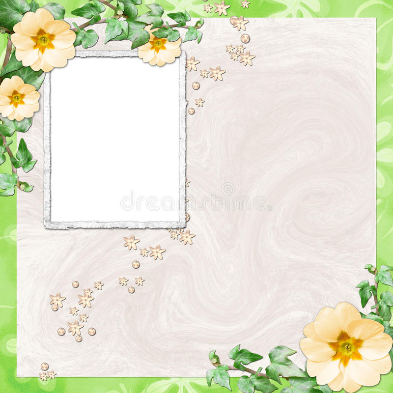 Background with frame and flowers stock illustration