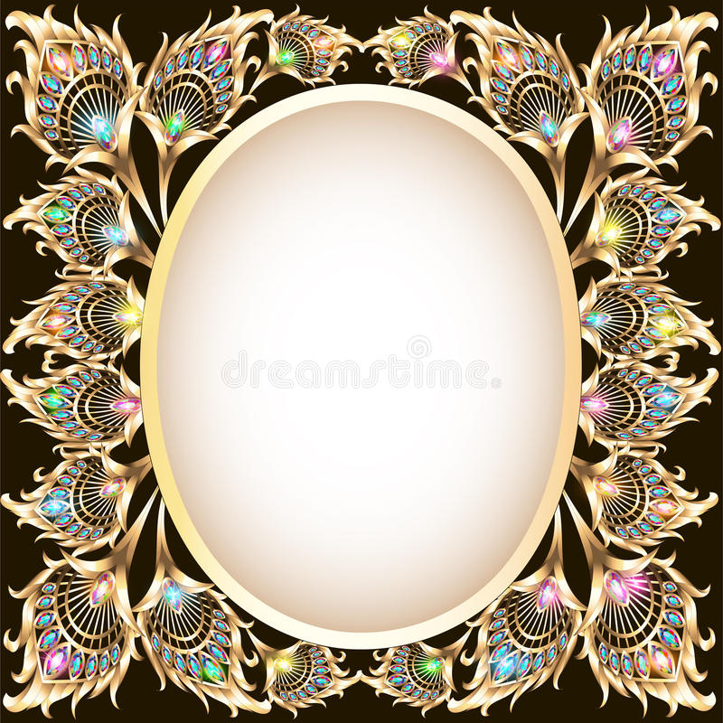 Background frame with gold ornament in the form of a peacock fe royalty free illustration