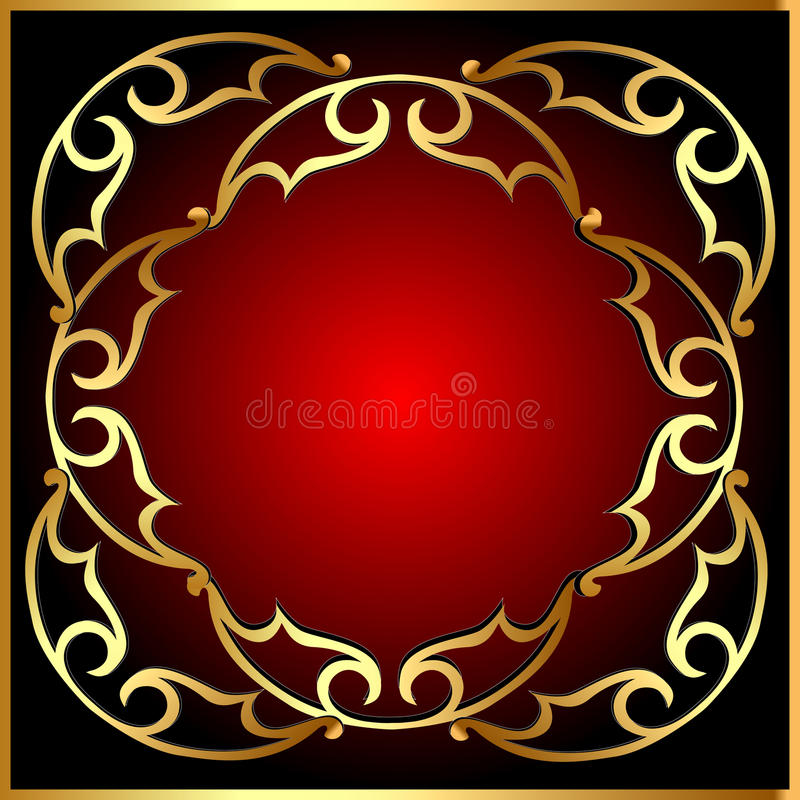 Background with frame and old gold(en) pattern stock illustration