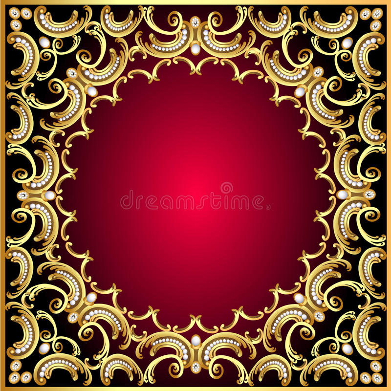 Background frame with pearl and gold(en) pattern royalty free illustration