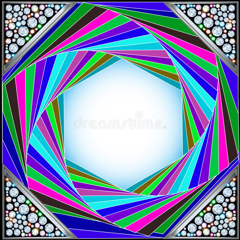 Hexagon Cut Precious Stones With Sparkle Stock Vector
