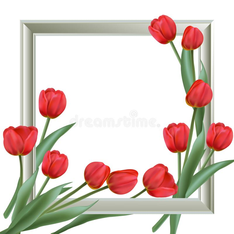 Background with frame and realistic tulips vector illustration