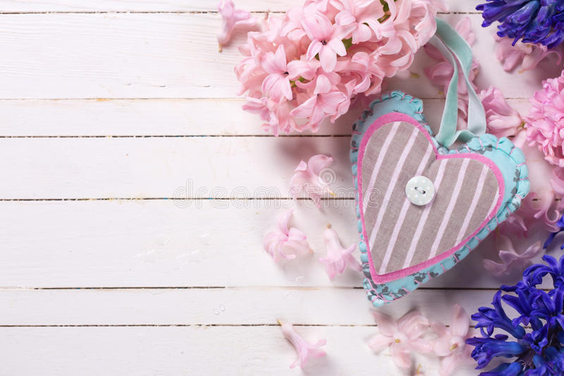 Background with fresh blue and pink flowers hyacnths and decor stock images