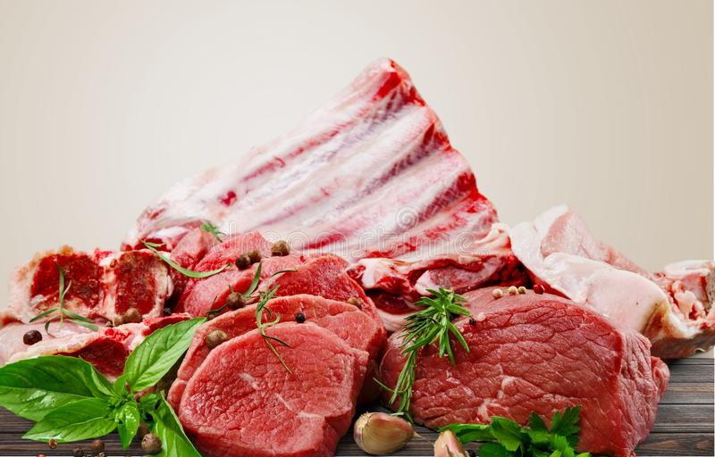 Fresh Raw Meat Background on background. Background fresh meat raw group objects market royalty free stock photography