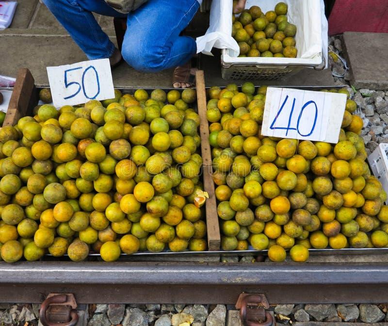 Background of fresh orange on market place.  stock images