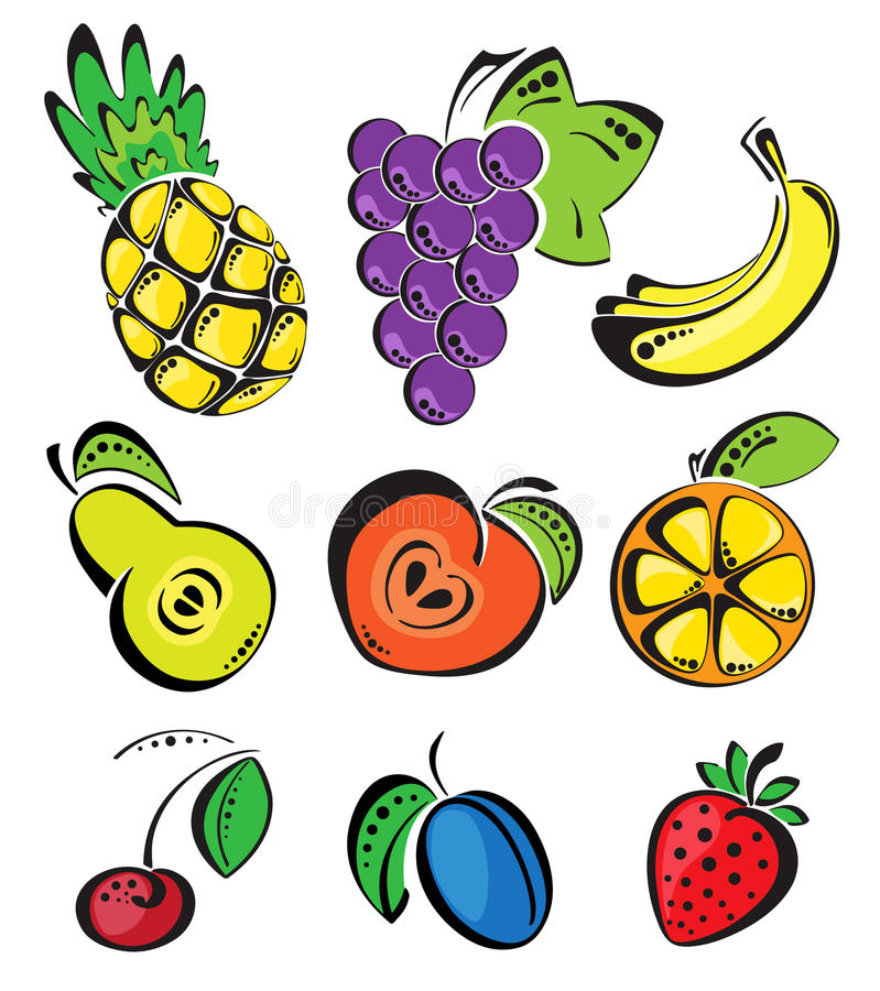 Download Background with fruit stock vector. Image of green, nanas - 26500347