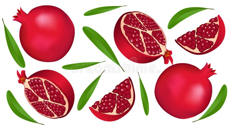 Background with fruit pattern of pomegranates and leaves stock photography