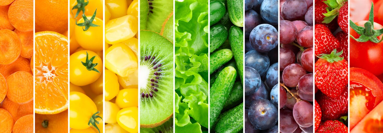 Background of fruits, vegetables and berries. Fresh food royalty free stock photo