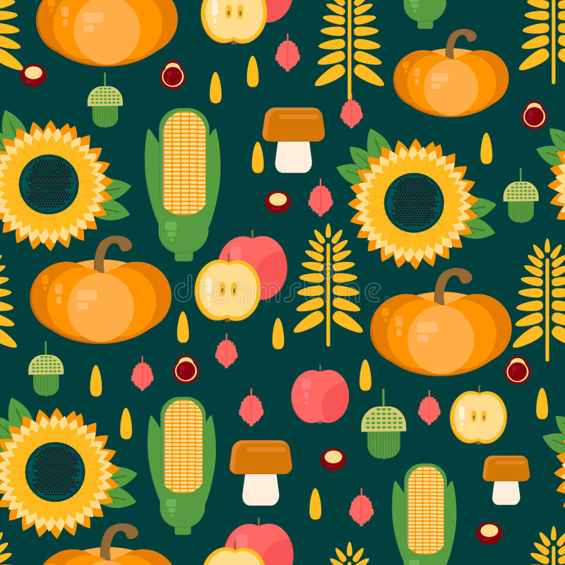 Background with fruits, vegetables, mushrooms and nuts stock illustration
