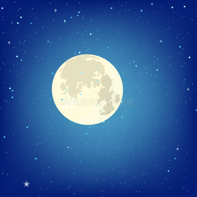 Background with full moon on a dark sky with stars. Vector illus royalty free illustration