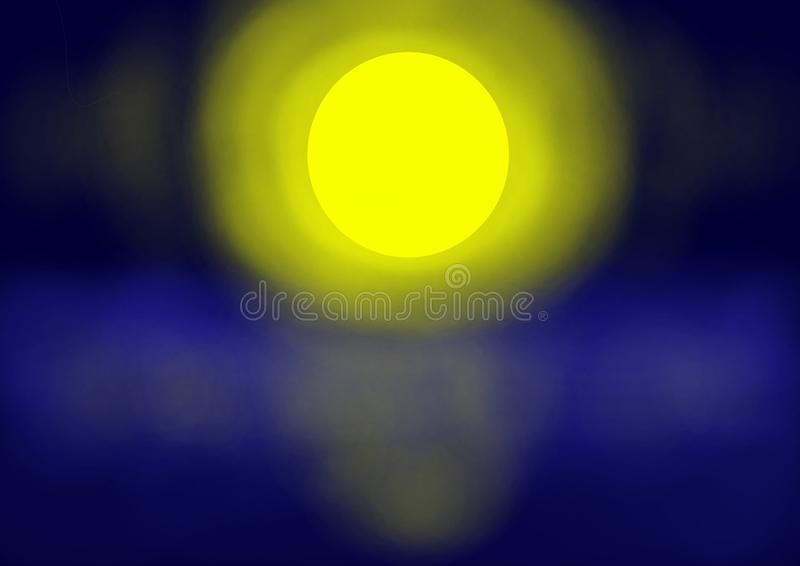 Background the full moon reflected on  foggy lake vector illustration