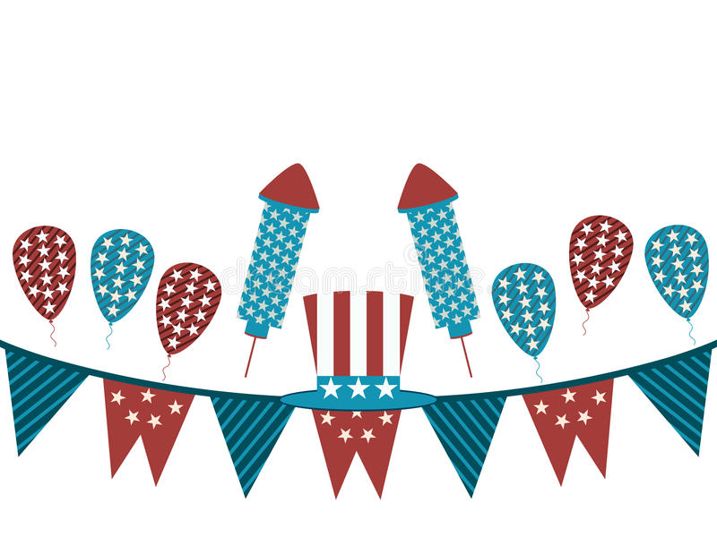 Background with garland and fireworks. Uncle Sam hat and garland on a white background, holiday items. stock illustration