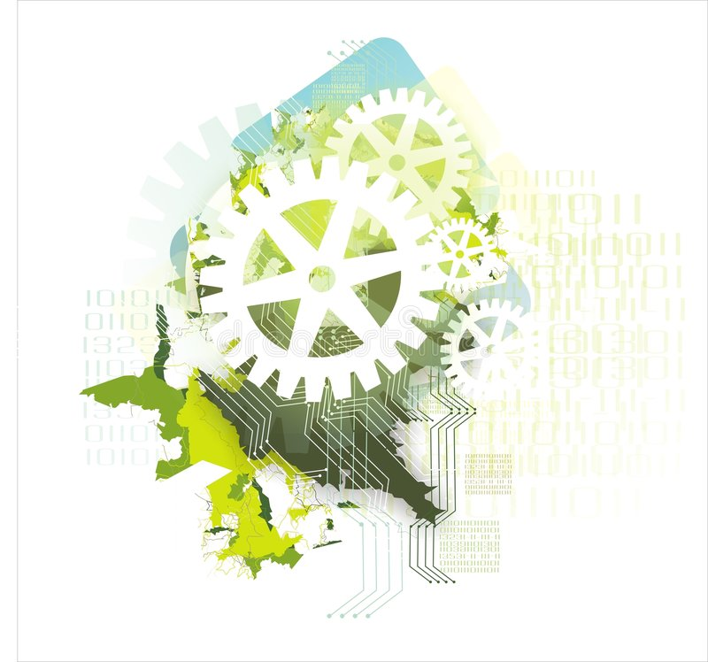 Background with gears & binary stock illustration