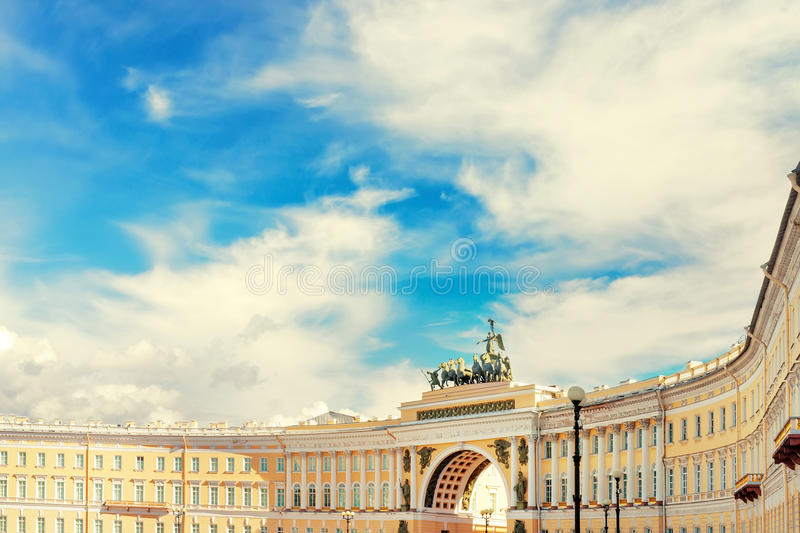 Background with General Staff Building in St Petersburg, Russia. View of Saint Petersburg, Russia. Panorama with General Staff Building in Palace Square against royalty free stock image
