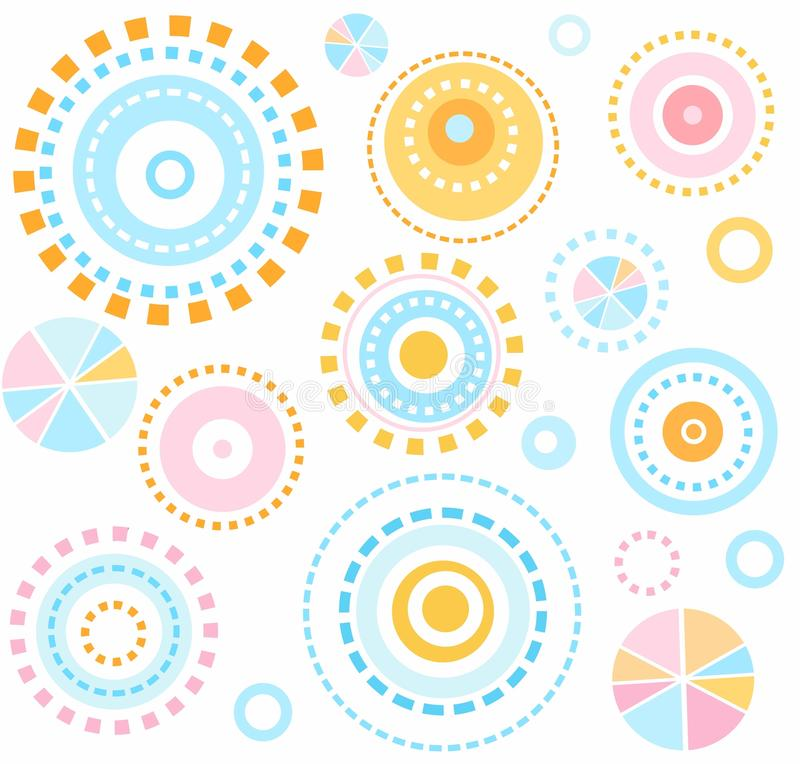 Background, geometric, circles, blue, pink, yellow, seamless, kids, white, abstraction. royalty free illustration