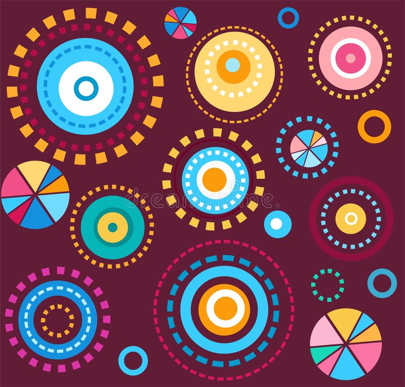 Background, geometric, circles, colorful, fireworks, wine red, seamless, abstract. royalty free illustration