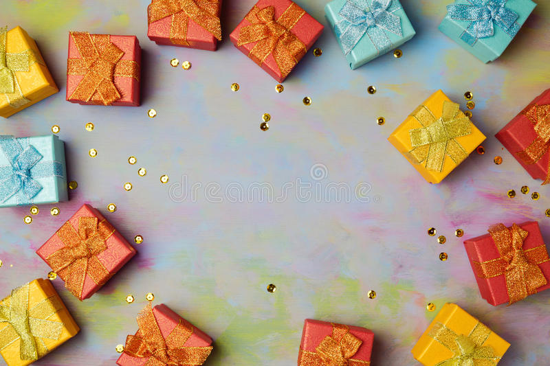 Background with gift boxes on wooden table. Sale and discount concept. View from above stock image