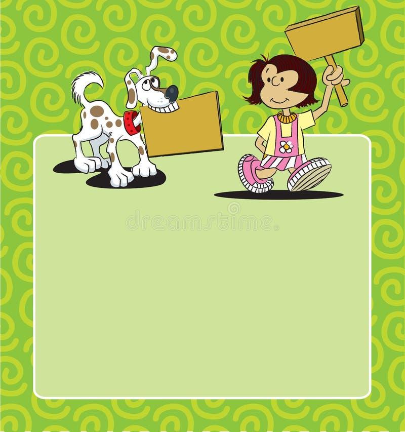Background Girl and Dog stock illustration