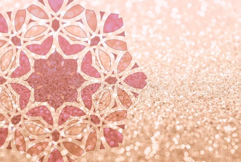 Background with glitter and mandala for your design. Can be used as place for text, for greeting or invitation cards, fashion magazines, web sites etc royalty free stock photos