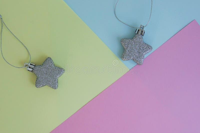 Background of glitter star on pastel sheet for season greeting stock photo