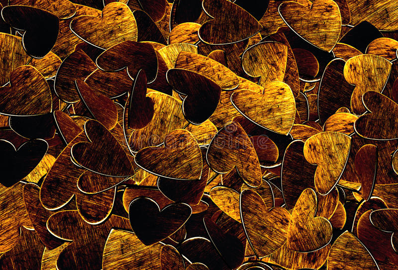 Background of gold and bronze hearts royalty free stock image