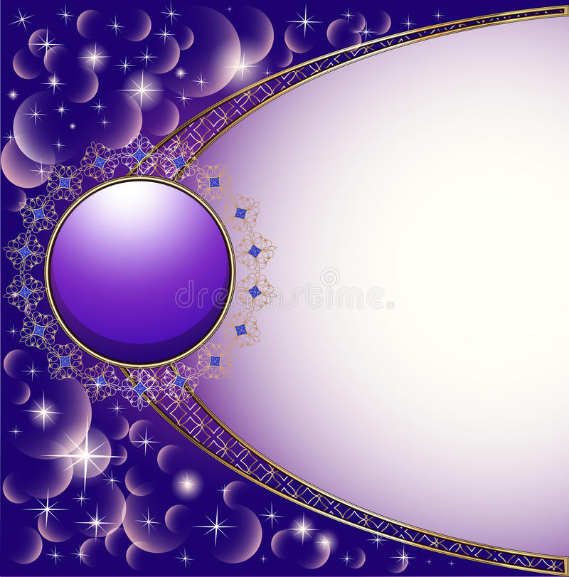 Background with gold circle and ornament. Illustration background with gold circle and ornament stock illustration