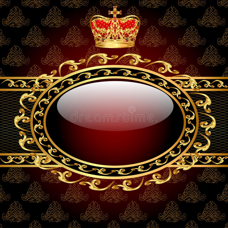 Download Background With A Gold Crown And A Circle Of Glass Stock Illustration - Image: 28899283