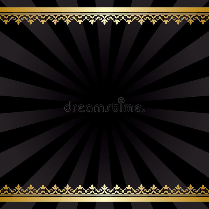 Background with gold decorations and rays - black vintage vector stock illustration