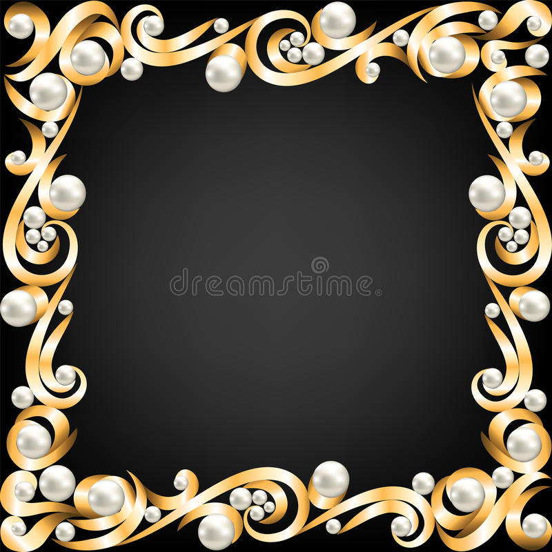 Gold jewelry frame and pearls vector illustration
