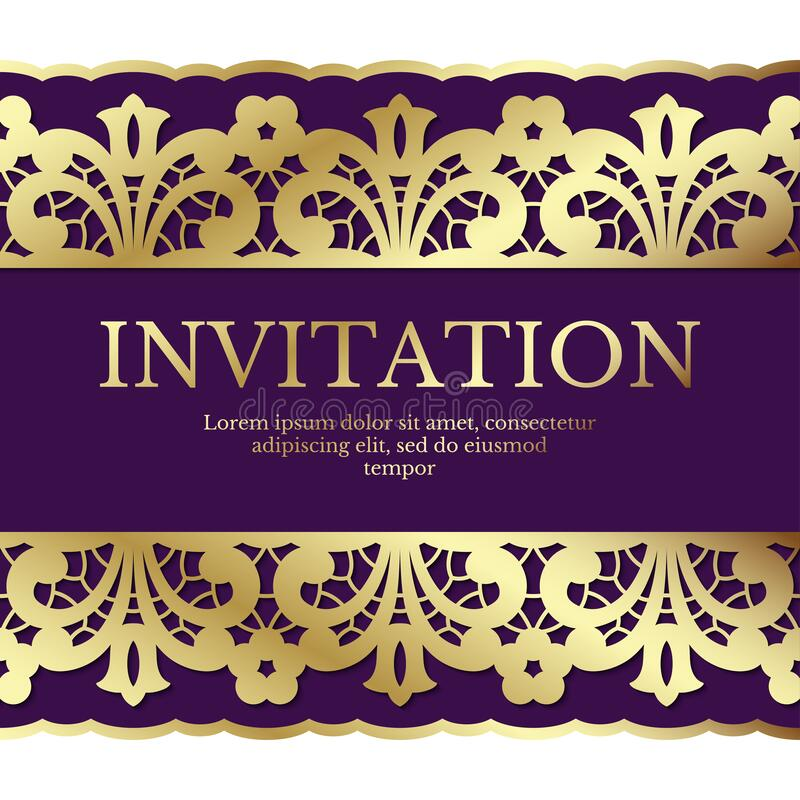 Background with gold lace ornament and area for text. Elegant card design. vector illustration