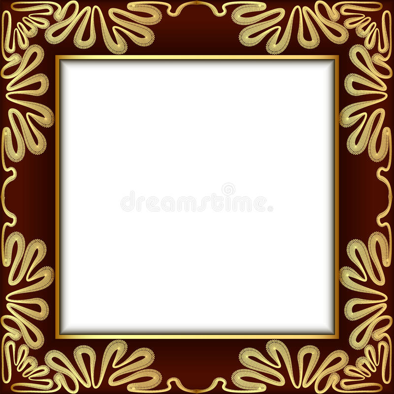 background with gold lace and place for text stock illustration
