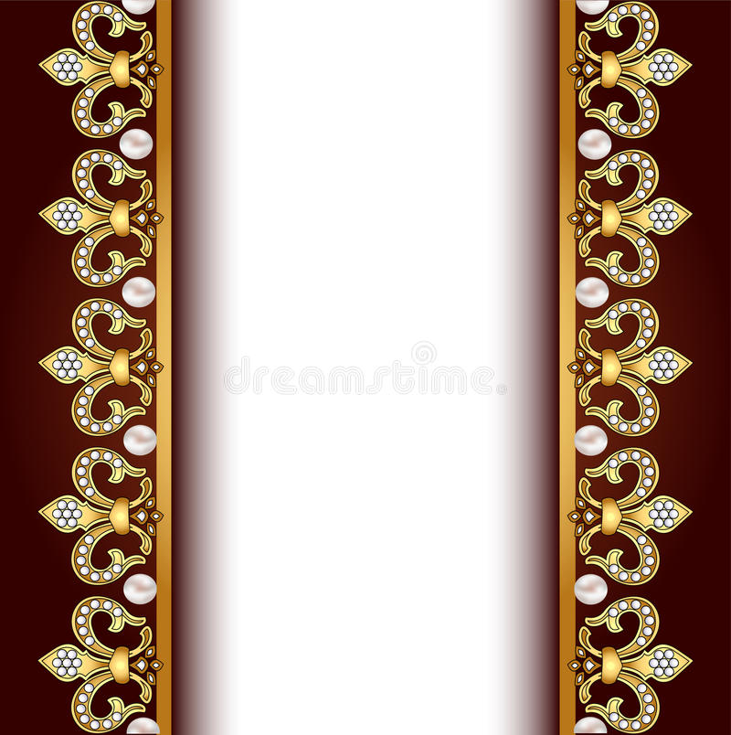 Background With Gold Ornaments And Pearls Stock Vector ...