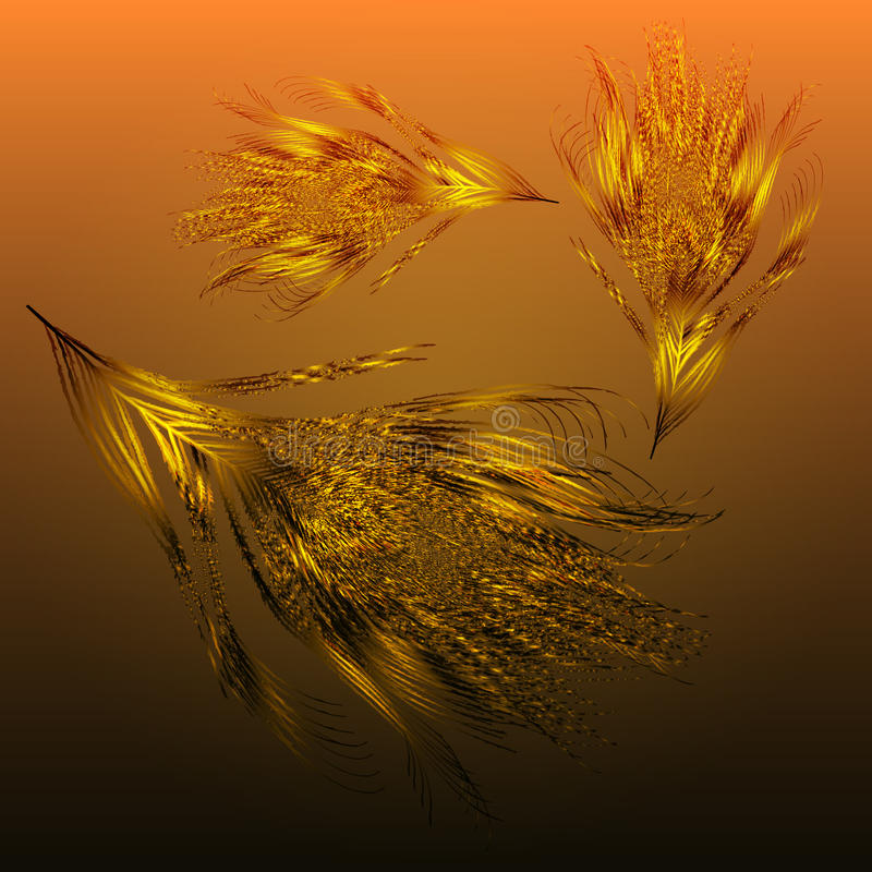 Background golden feathers fall. Vector image with gradient background golden feathers fall. eps10. with a transparency effect vector illustration