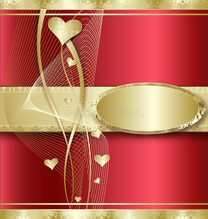 Background with Golden Hearts stock images