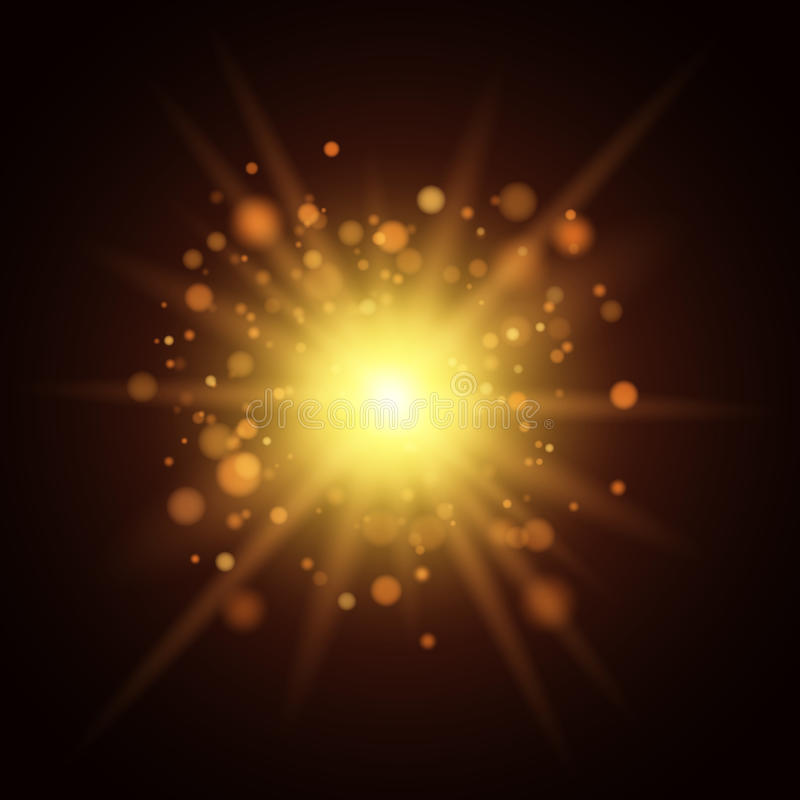Background of golden lights. Christmas light. A big yellow flash. Footage for the photo. Template for your project royalty free illustration