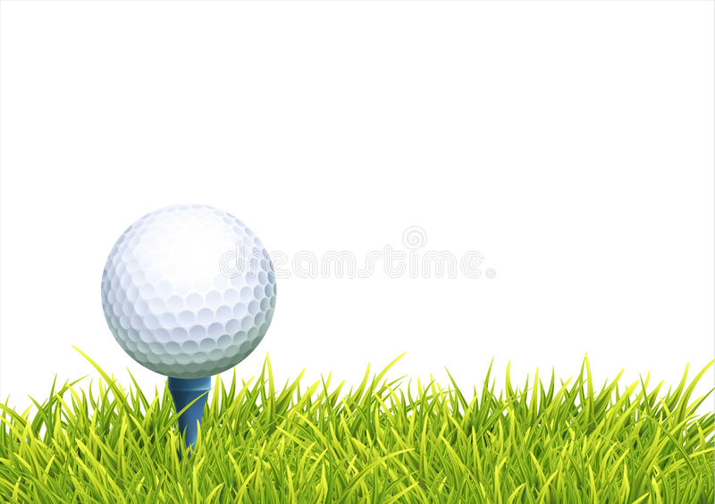 Background With Golf Ball. Vector Realistic Background With White Golf Ball And BlueTee In The Green Grass. Close Up View stock illustration