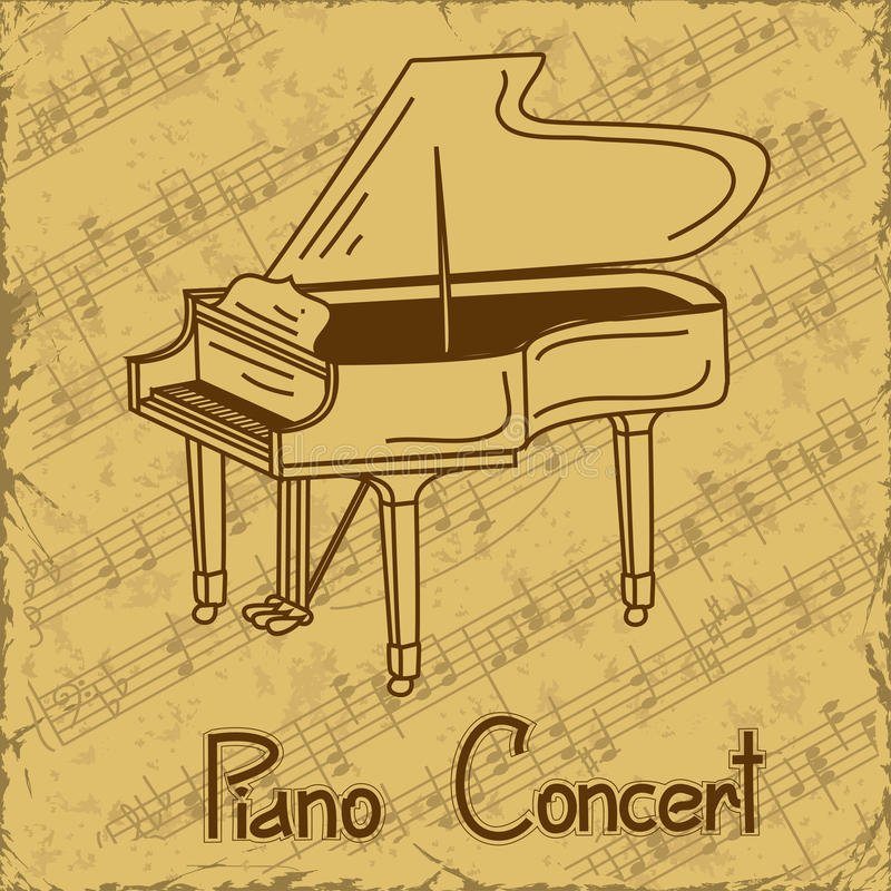 Background Of Grand Piano And Music Stave Royalty Free Stock Image