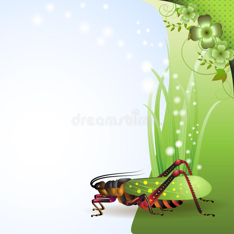 Background with grasshopper. On grass vector illustration