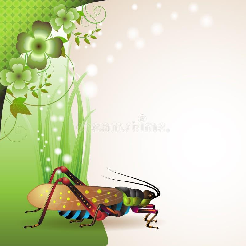 Background with grasshopper. On grass stock illustration