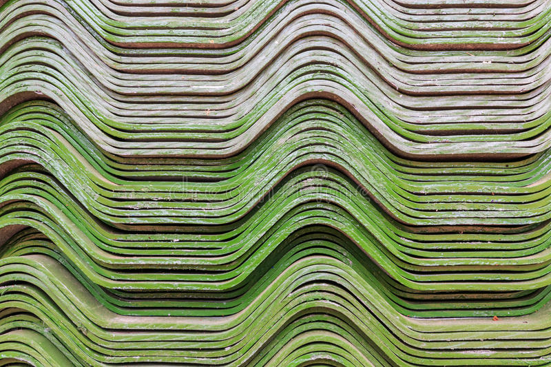 Background of green color roof tile royalty free stock photo
