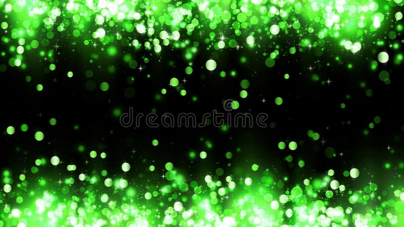 Background with green glitter particles. Frame of sparkling green magic particles. Beautiful background for bright design vector illustration