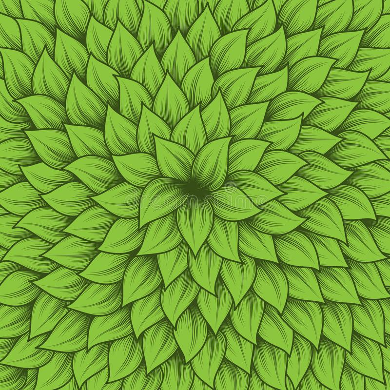 Green leaves center background. Background with green leaves from center to edges vector illustration