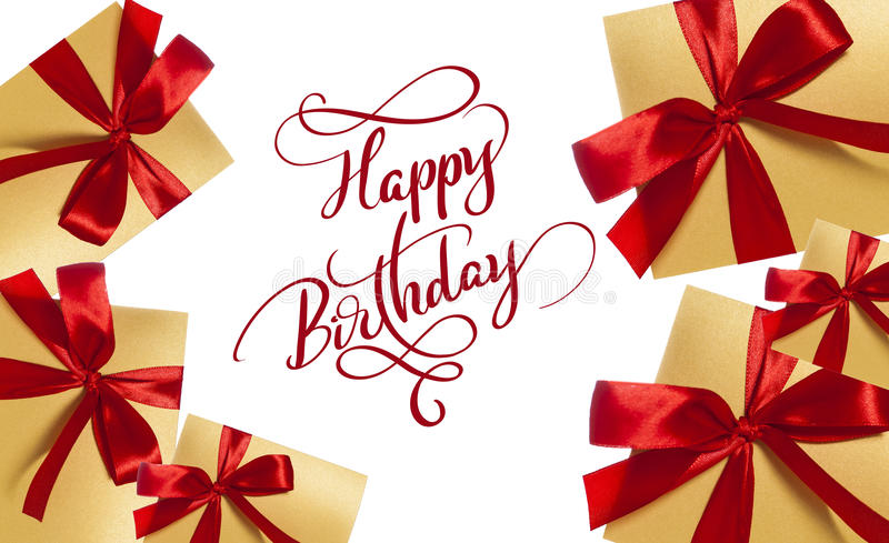 Background for greeting card boxes with red bow and text Happy Birthday. Calligraphy lettering.  stock photography
