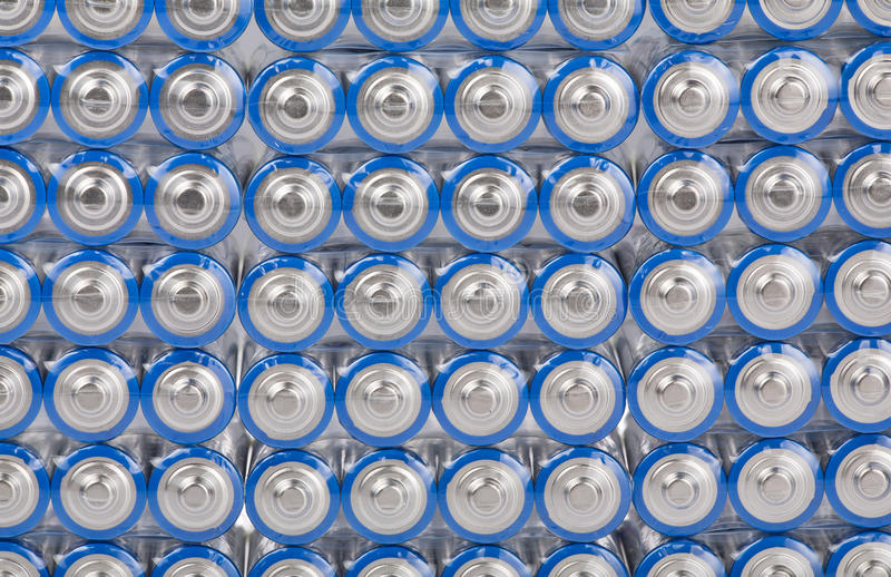 Background from group of blue batteries. Background from large group of blue batteries royalty free stock photo