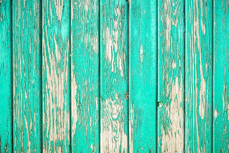 Wooden old fence with peeling paint. From vertical boards of turquoise color. Background in grunge style. Wooden old fence with peeling paint. From vertical stock photo