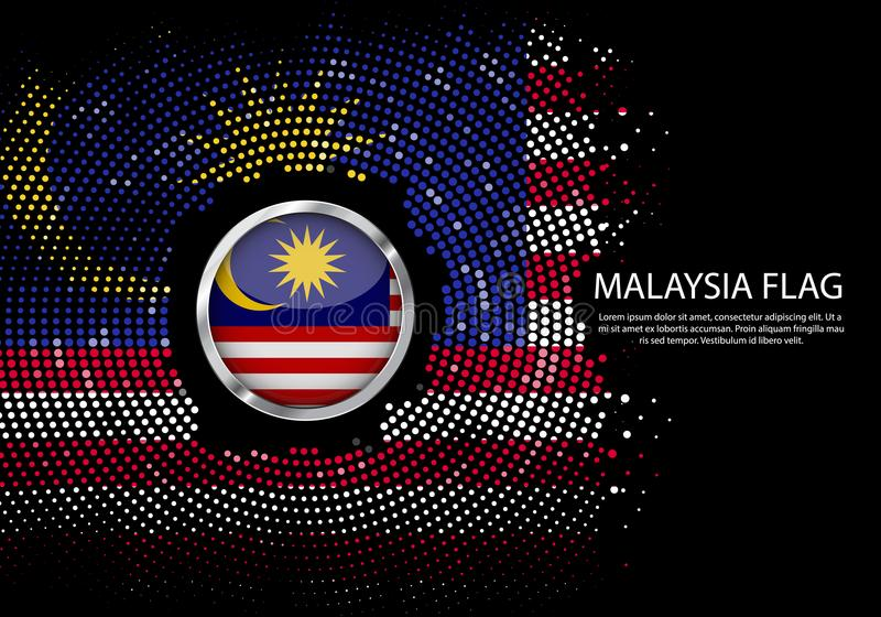 Background Halftone gradient template or LED neon Light on round. Dots style of Malaysia flag. Modern soccer cup for futuristic background with circle metallic stock illustration