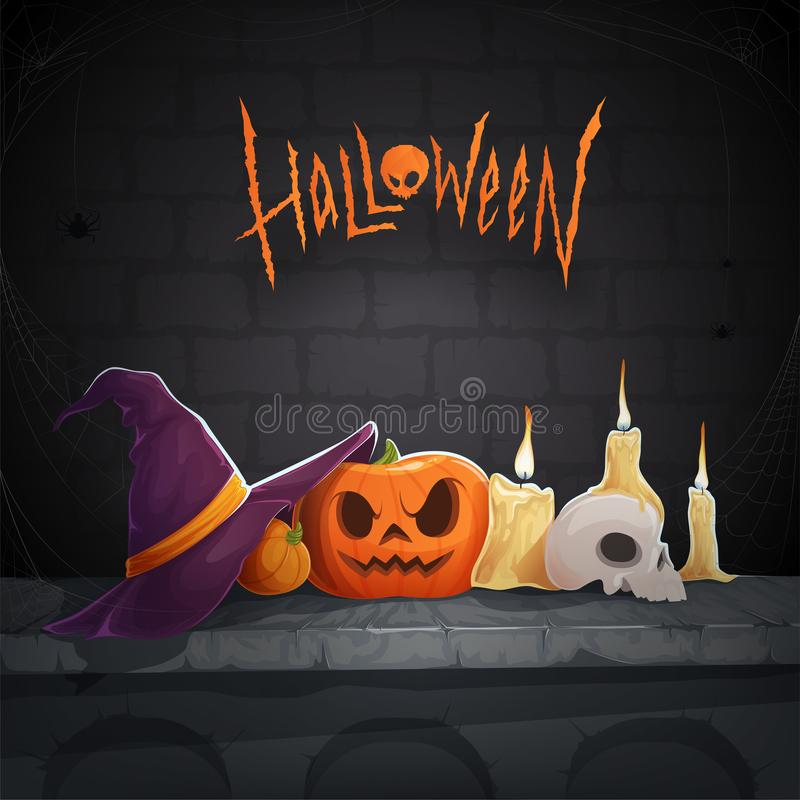 Background for Halloween with a carved pumpkin, sinister skull, candles and witches hat with spider webs. Vector illustration vector illustration