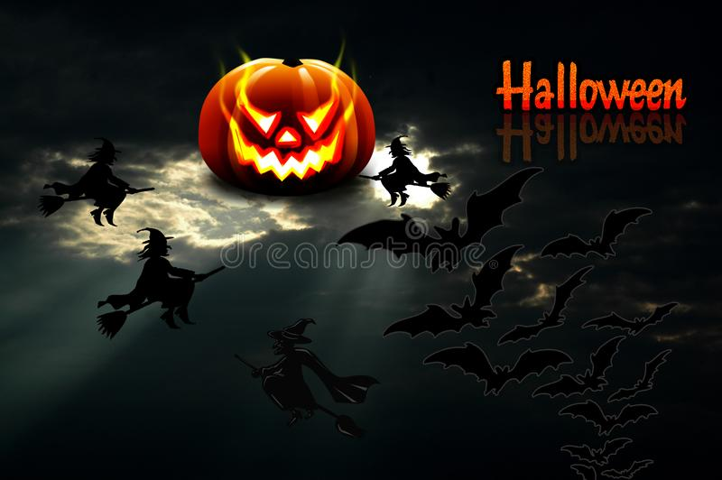 Background for Halloween. The moon in the form of a pumpkin shin stock image