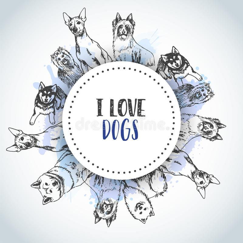 Background with Hand drawn dogs breeds. Sketch of dog. Poster with I love Dog text French bulldog, dachshund, Husky. Yorkshire Terrier Vector royalty free illustration
