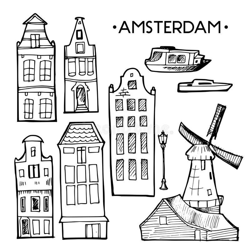Background with hand drawn doodle Amsterdam houses. Isolated black and white. Illustration vector. Background with hand drawn doodle Amsterdam houses. Cityscape royalty free illustration